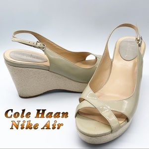 Cole Haan-Nike Air Taupe Tan Open toe Open Wedge 9